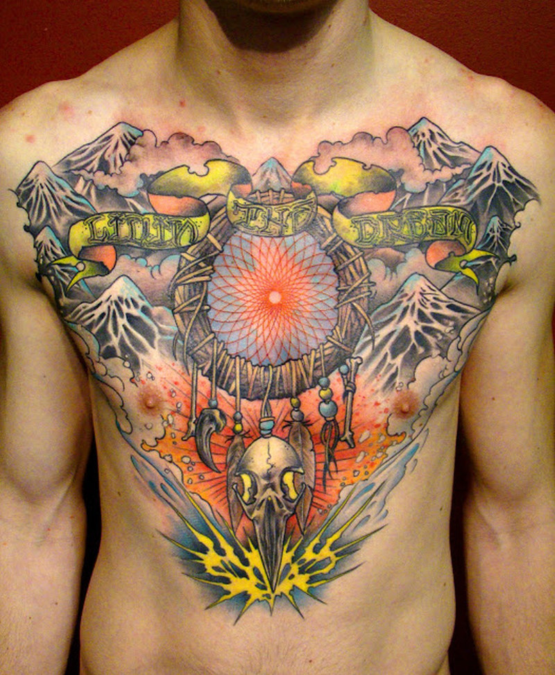 colorful dream catcher tattoo on chest tattoos book tattoos designs. Black Bedroom Furniture Sets. Home Design Ideas