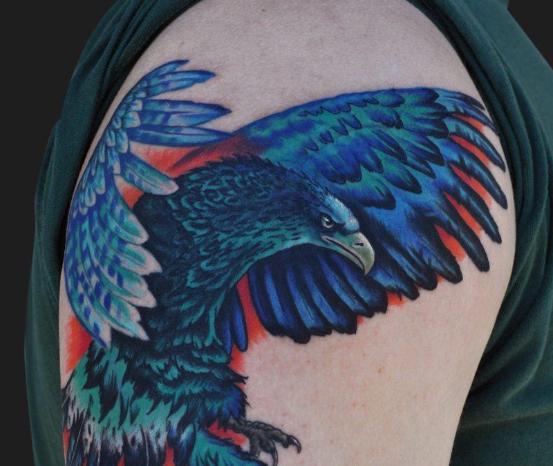 Colorful eagle tattoo on shoulder