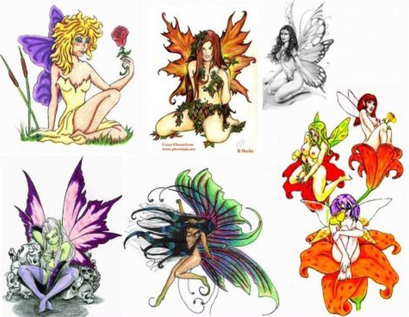 Colorful fairy tattoo designs
