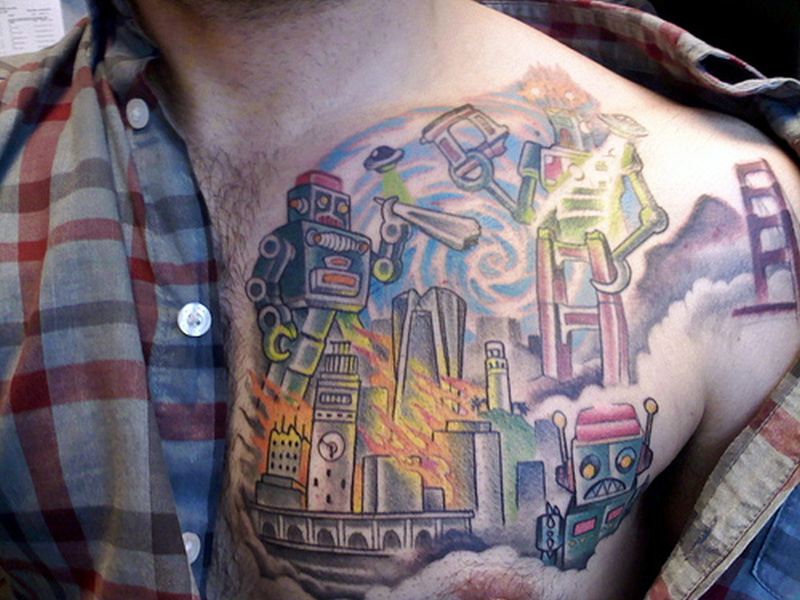Colorful fantasy tattoo on chest 2