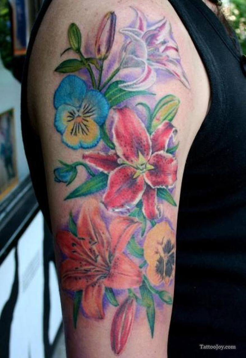 Colorful feminine flowers tattoo on sleeve tattoos book for Flower tattoo arm
