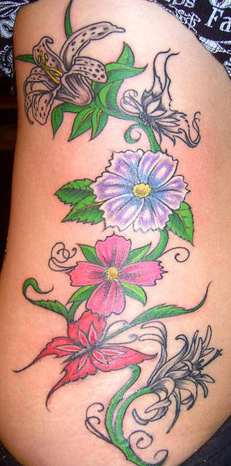 Colorful Flowers N Butterfly Tattoo Design Tattoos Book 65000