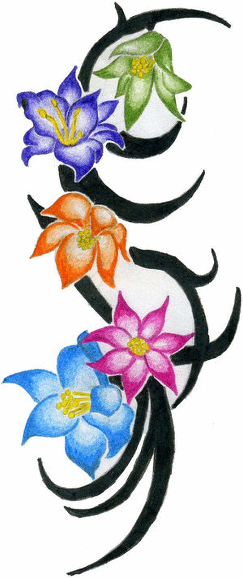 Colorful flowers n tribal tattoo design