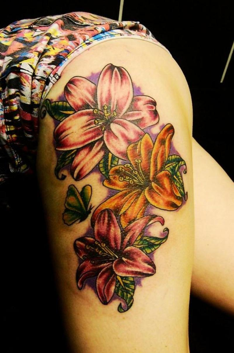 Colorful Flowers Tattoo On Upper Arm Tattoos Book 65 000 Tattoos