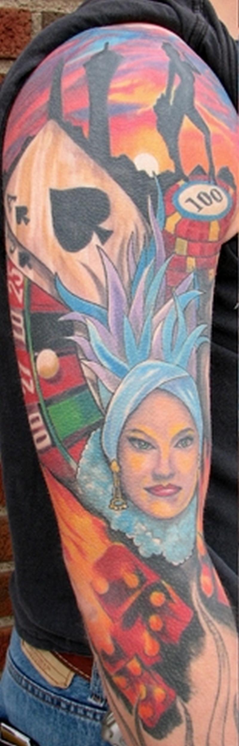 Colorful gambling tattoo design on sleeve 3
