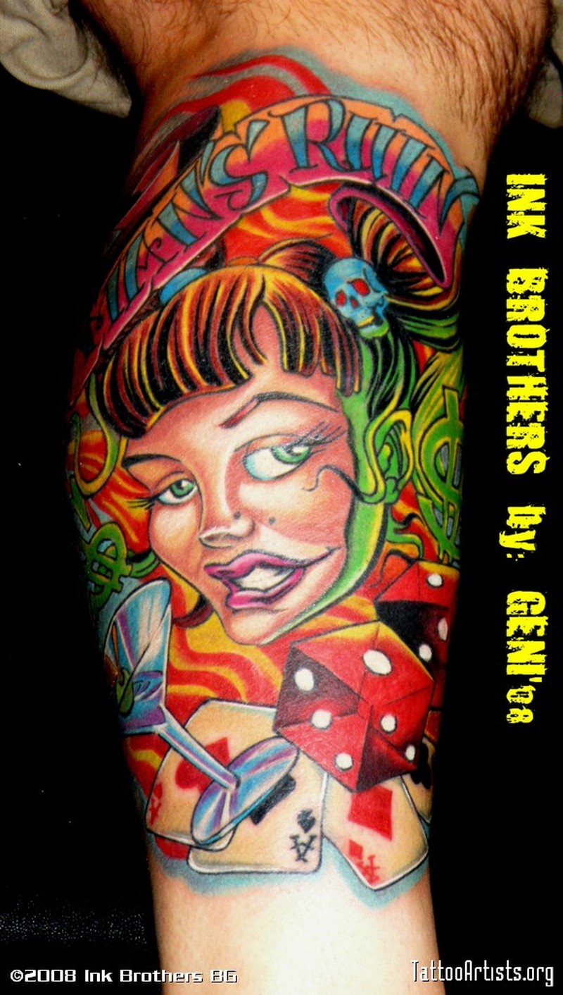 Colorful gambling tattoo picture on leg