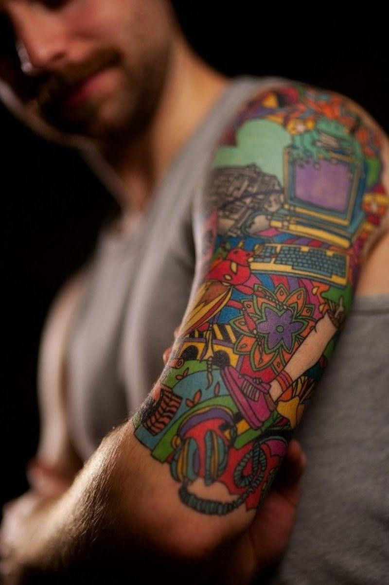 Colorful geek tattoo design