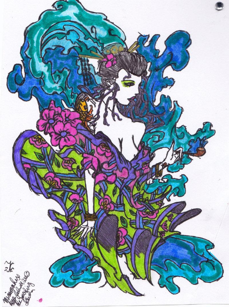 Colorful geisha tattoo design