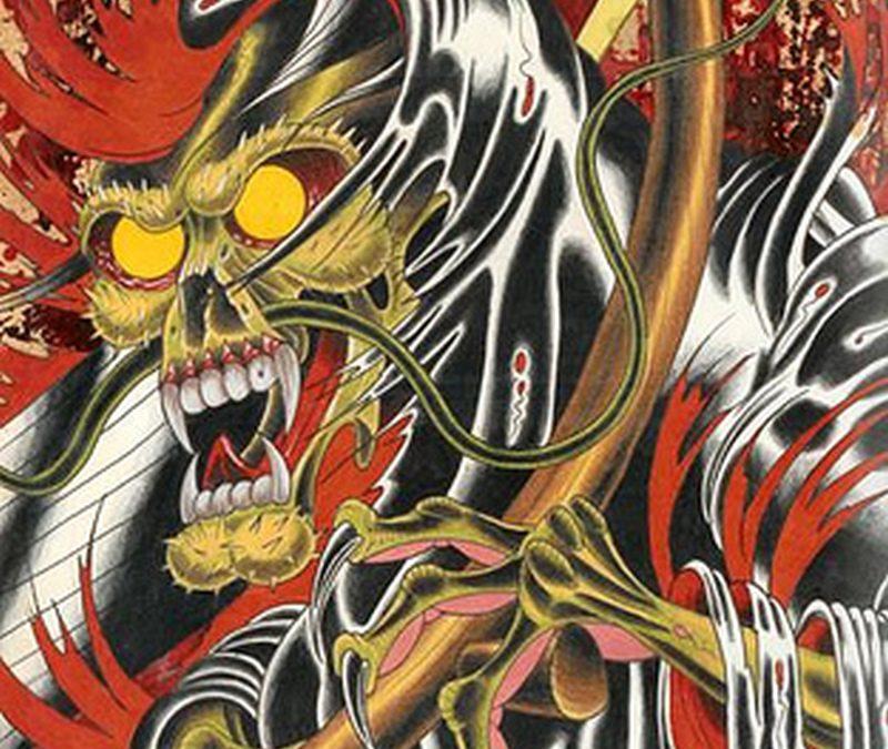 Colorful grim reaper tattoo picture