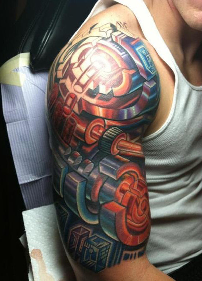 Colorful half sleeve tattoo design
