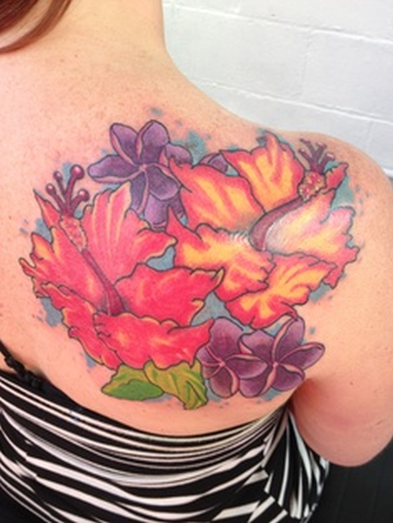 Colorful Hibiscus Flowers Tattoo On Back Shoulder Tattoos Book
