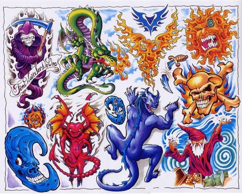 Colorful horror tattoo designs