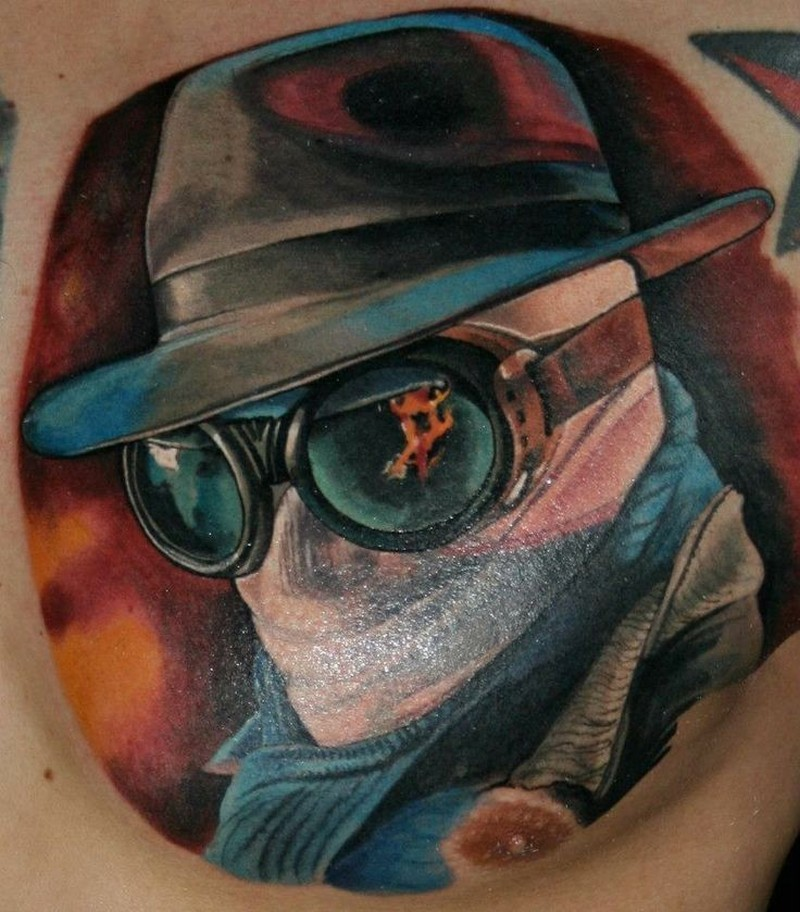 Colorful invisible man movie horror tattoo