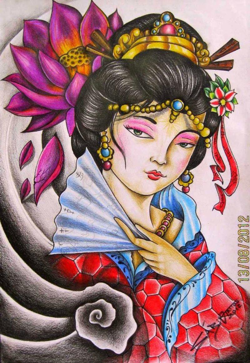 Colorful japanese geisha tattoo design 2