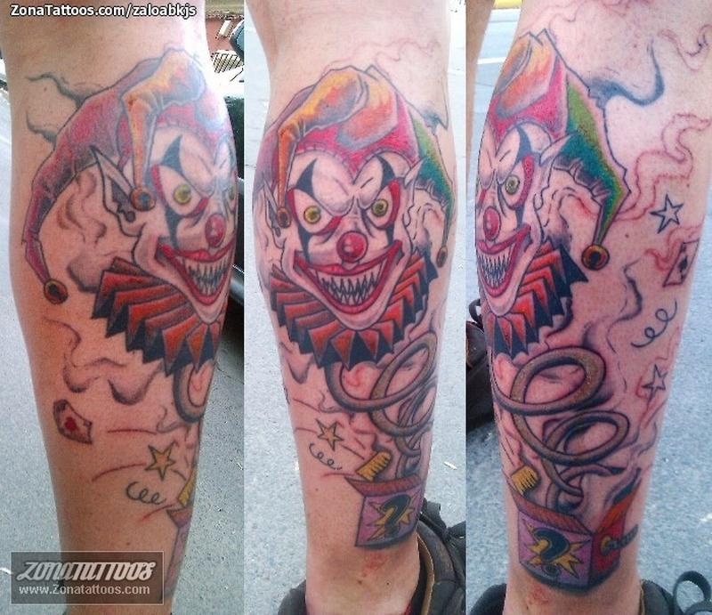Colorful joker box tattoo design