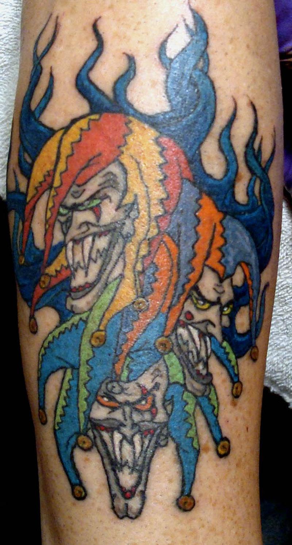 Colorful joker clowns tattoo designs