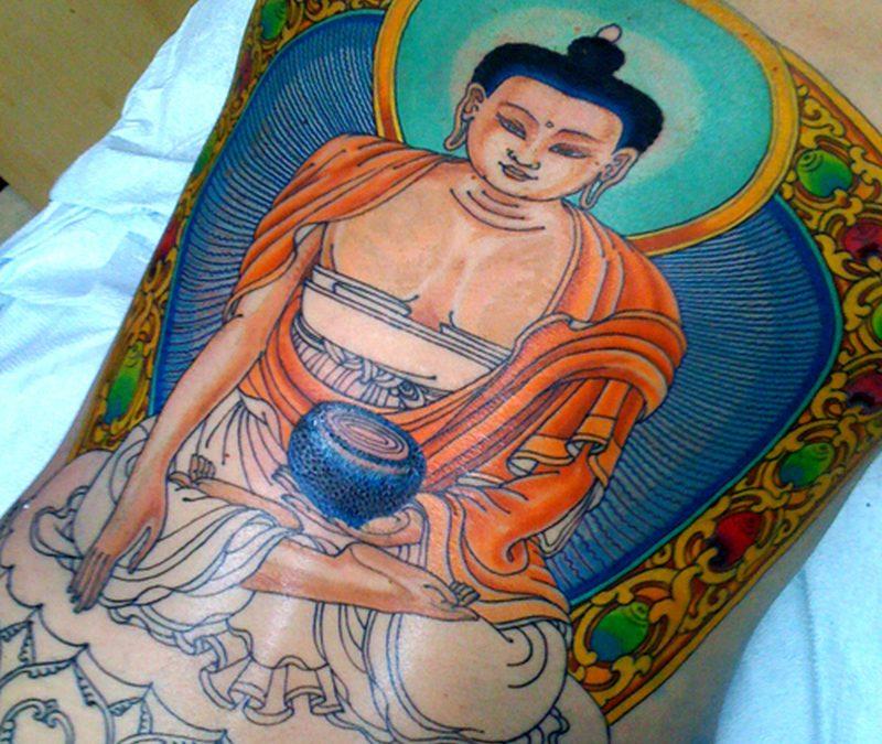 Colorful medicine buddha tattoo