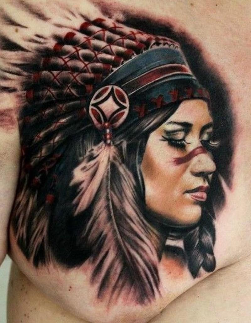 Colorful nice native american girl tattoo on chest by moni for Native american woman tattoo