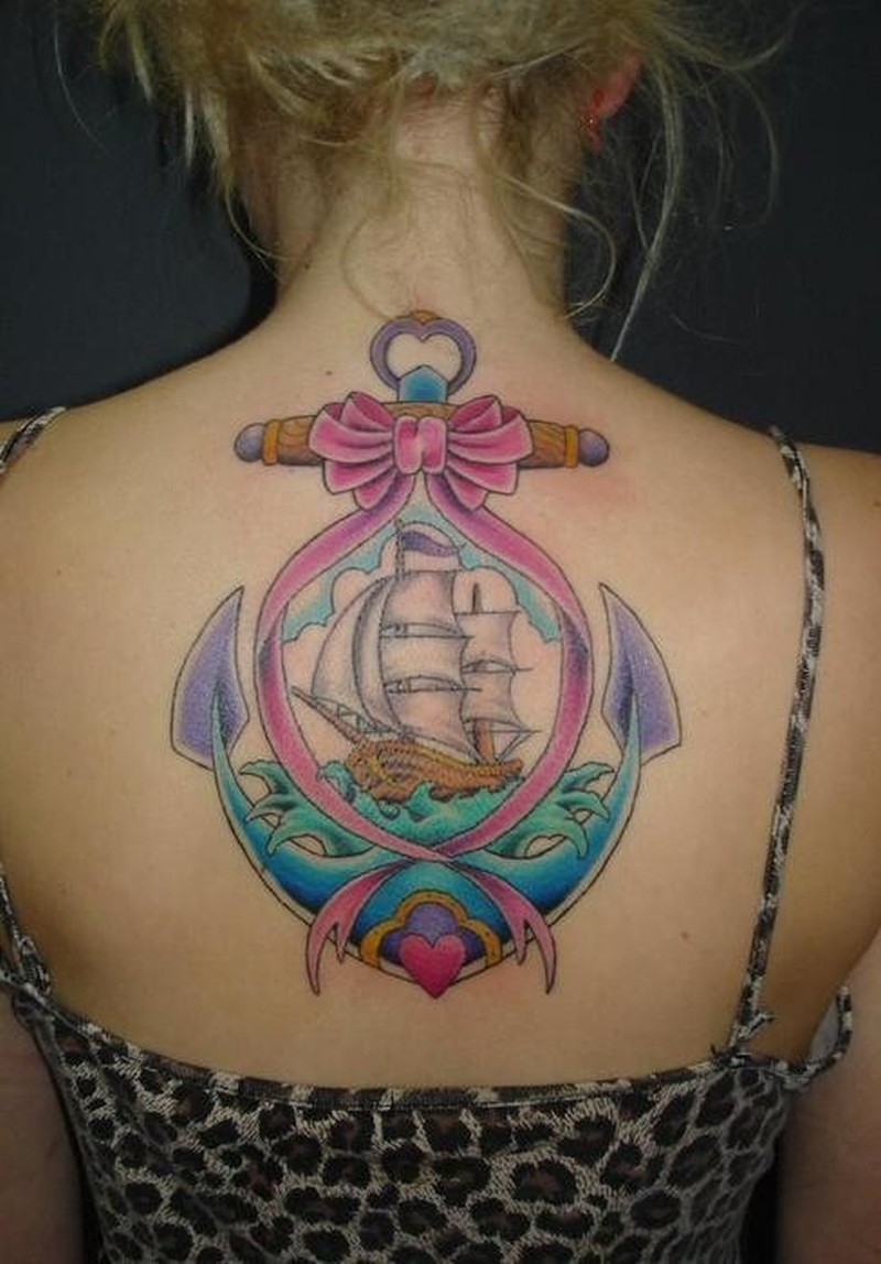 Colorful pirate ship anchor tattoo