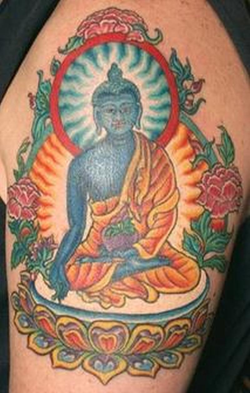 Colorful religious buddha tattoo design