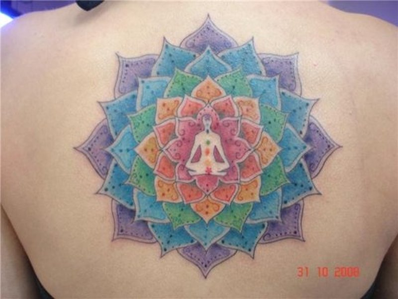 Colorful religious buddhist tattoo on upper back