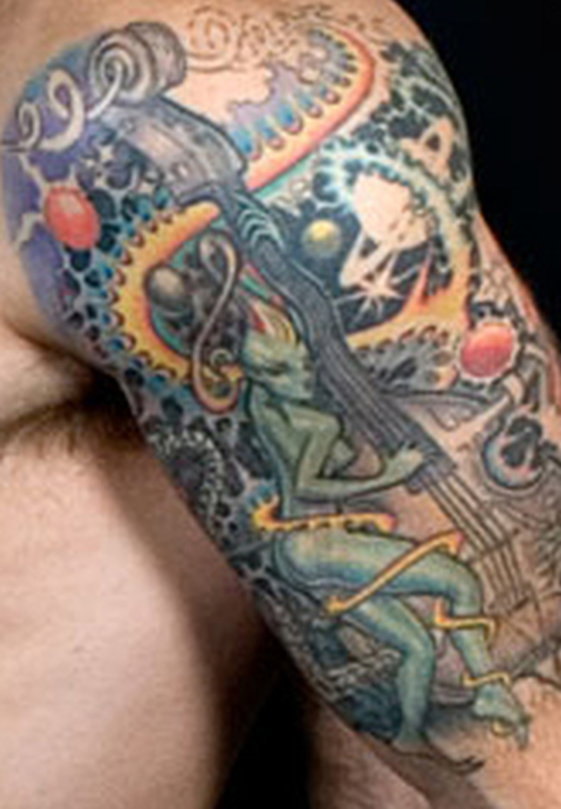 Colorful tattoo for biceps