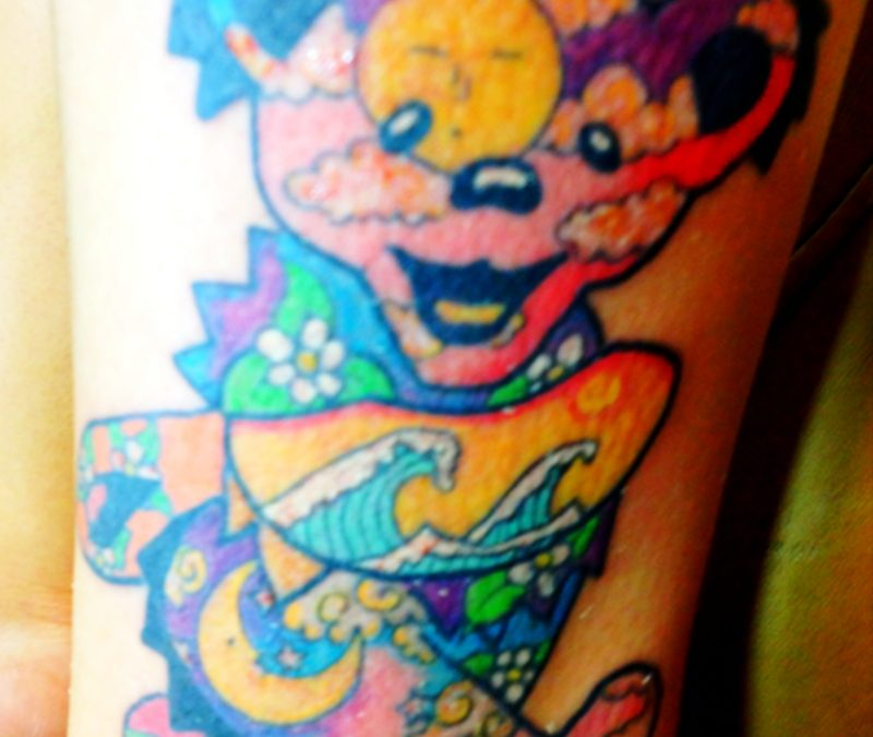 Colorful teddy bear tattoo design