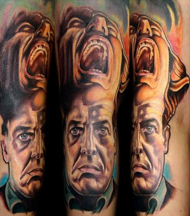 Colorful twin peaks movie horror tattoo on arm