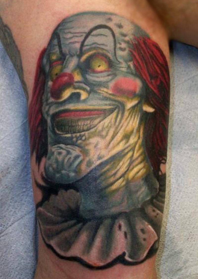 Coloured evil clown tattoo