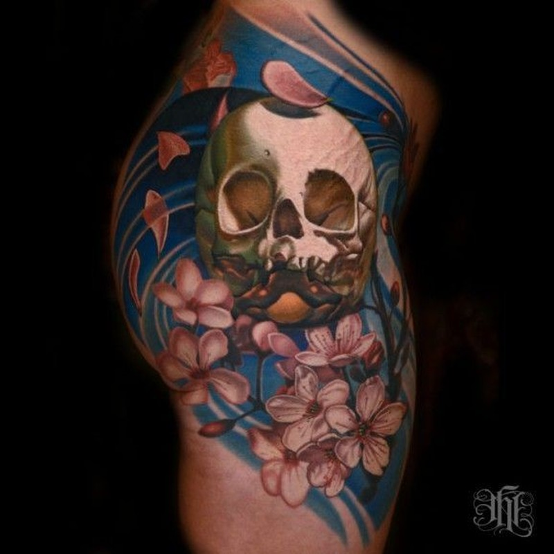 coloured skull and cherry blossoms tattoo on shoulder tattoos book tattoos designs. Black Bedroom Furniture Sets. Home Design Ideas