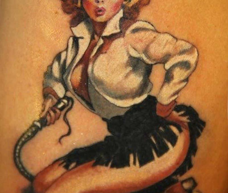 Coloured vintage cowgirl pin up tattoo by Marco Firinu