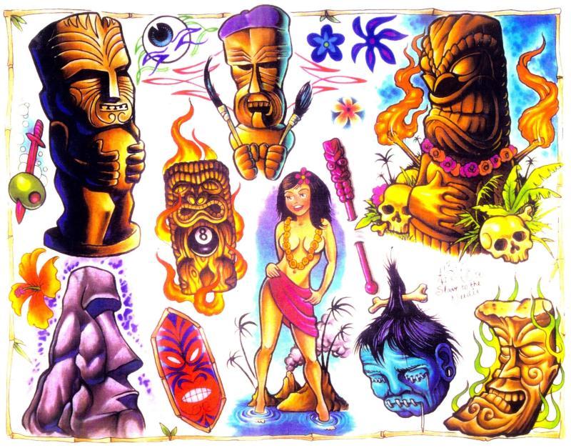 Colourful alien tattoo design