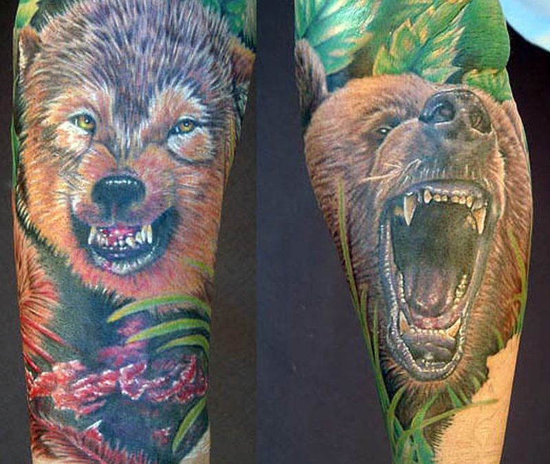 Colourful bear tattoos