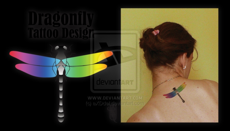 Colroful dragonfly tattoo design for women