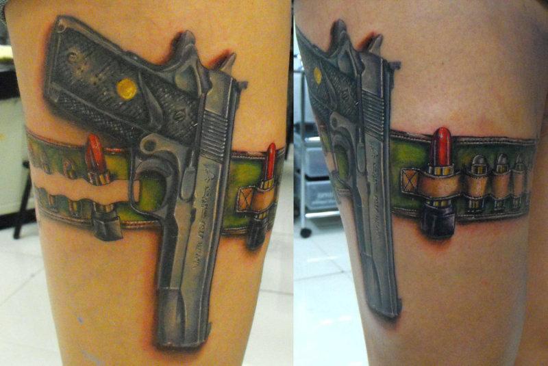 Colt 45 gun tattoo design