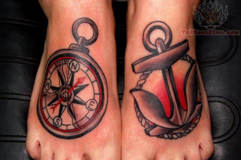 Compass anchor symbol tattoo on feet