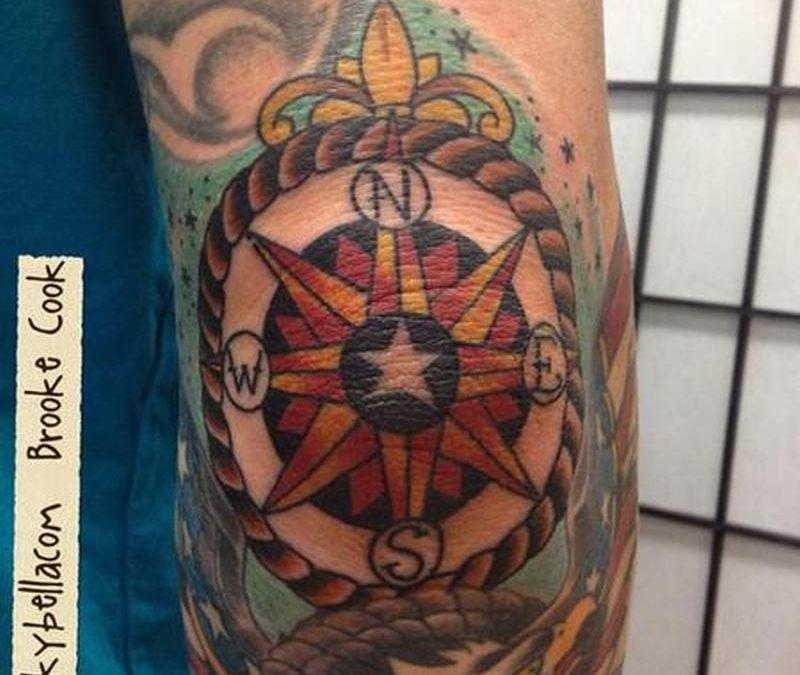 Compass elbow tattoo design