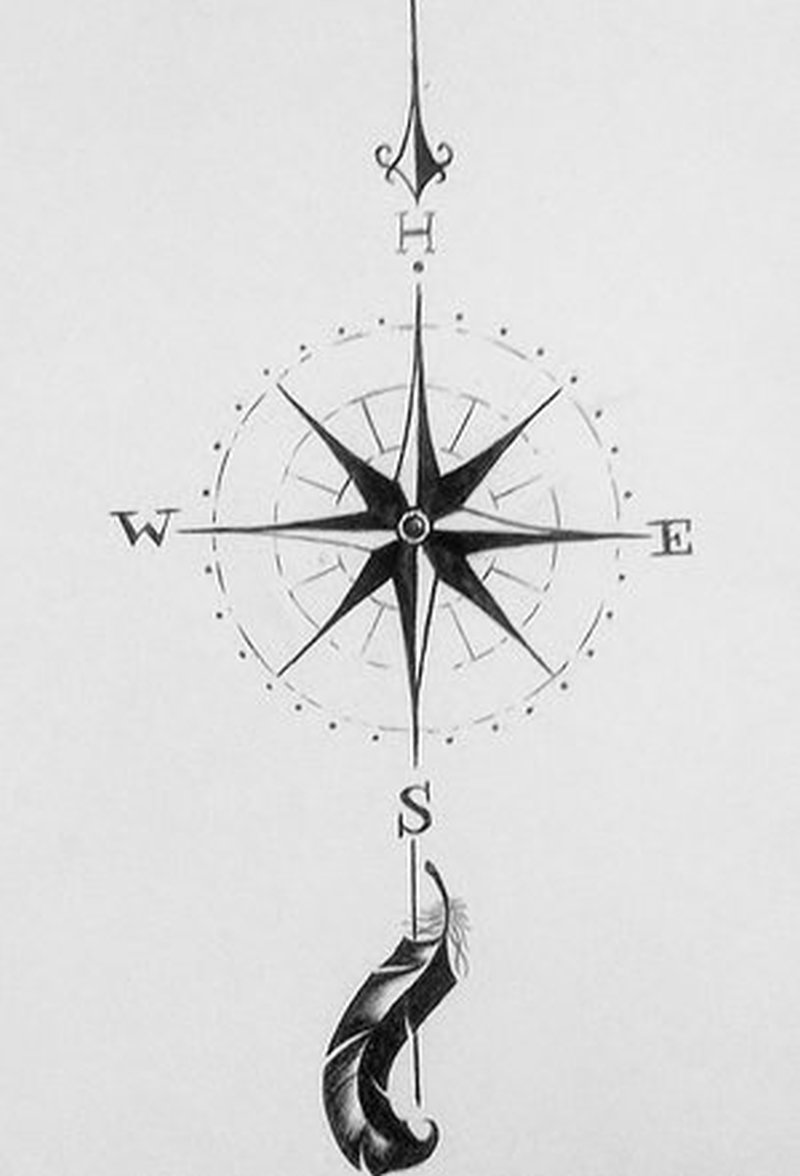 Compass feather tattoo drawing