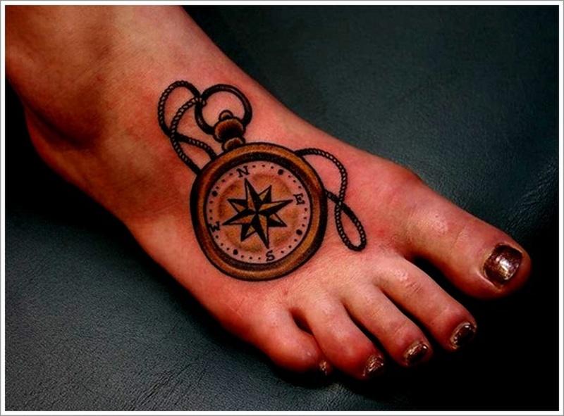 Compass foot tattoo design