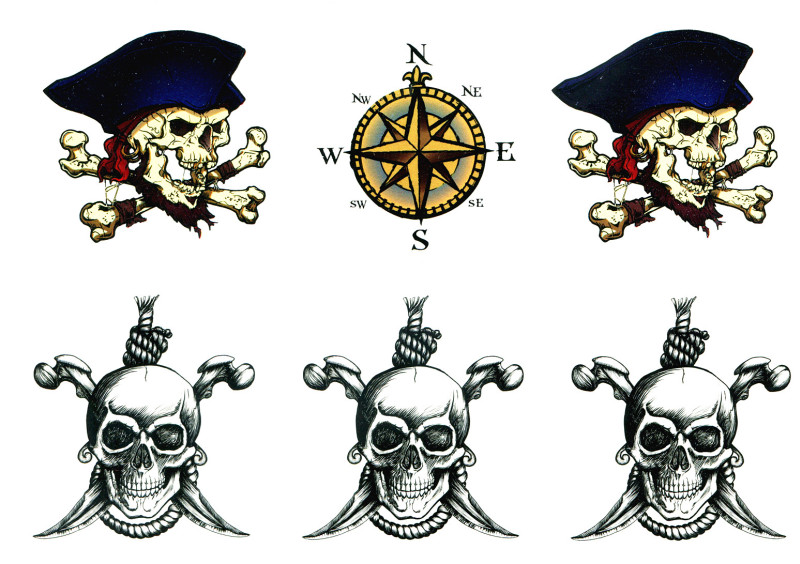 Compass skulls tattoo design