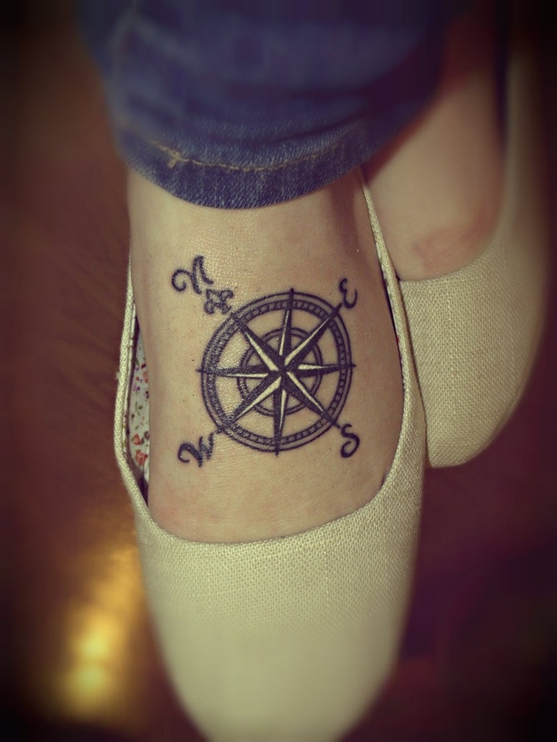 Compass tattoo for foot 2