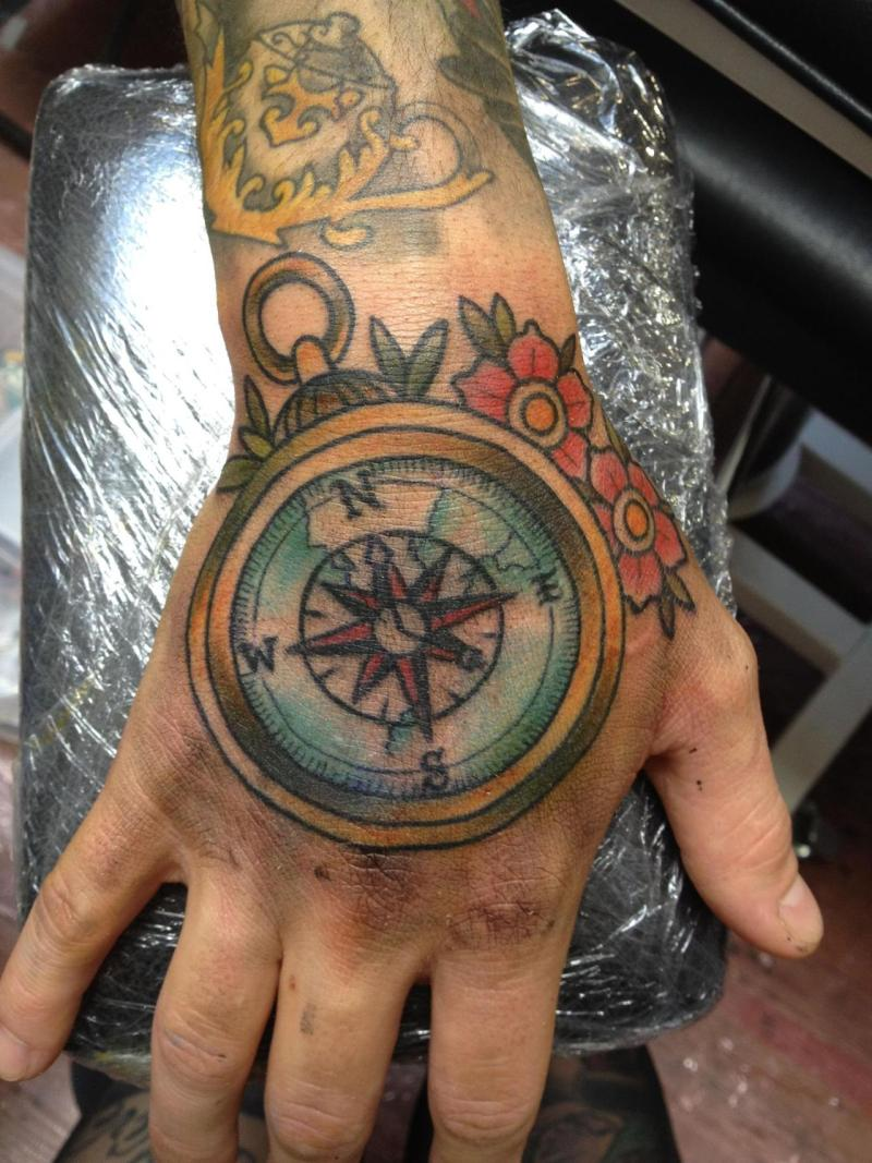 Compass tattoo for hand