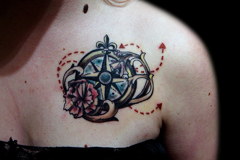 Compass tattoo on front