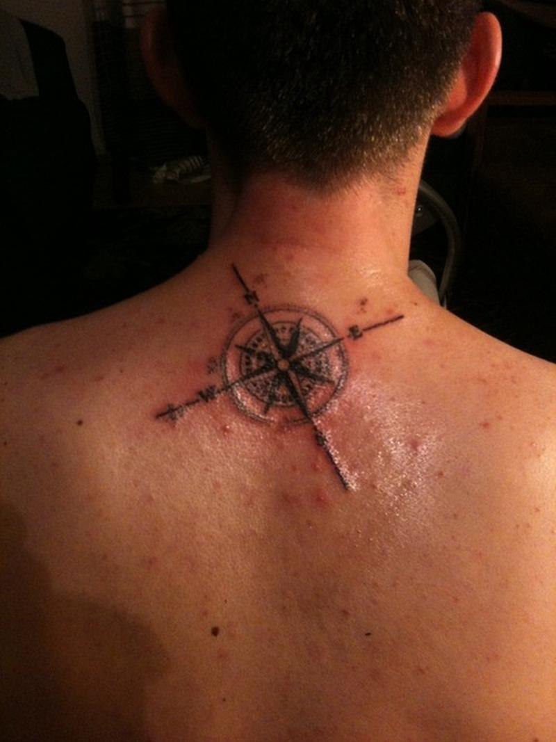 compass tattoo on neck back for men tattoos book tattoos designs. Black Bedroom Furniture Sets. Home Design Ideas