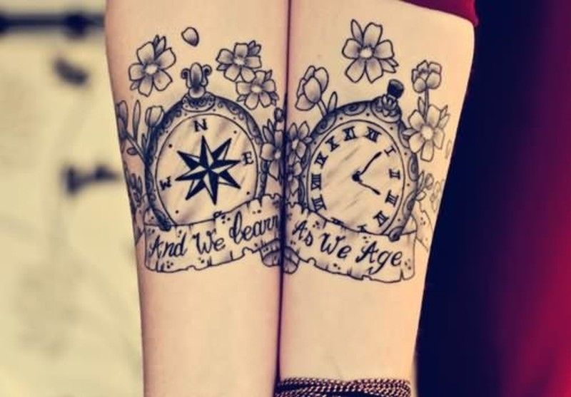836b8be28 Compass watch couple design tattoo - Tattoos Book - 65.000 Tattoos ...