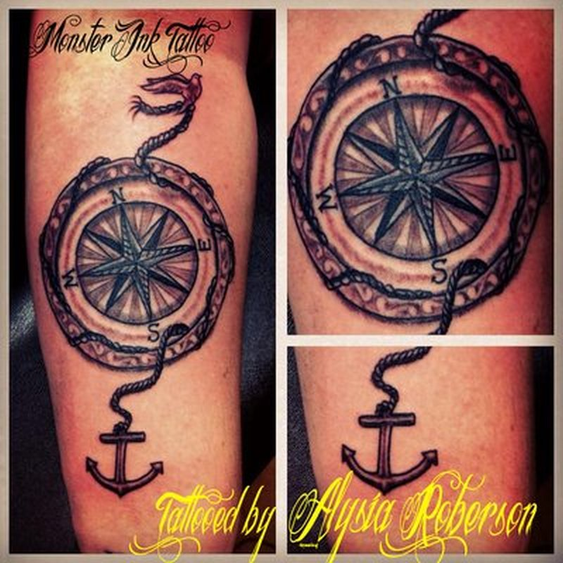 Compass with anchor tattoo design