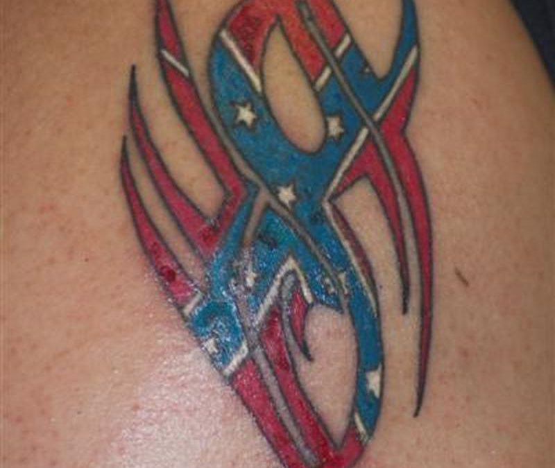 Confederate flag tattoo on biceps