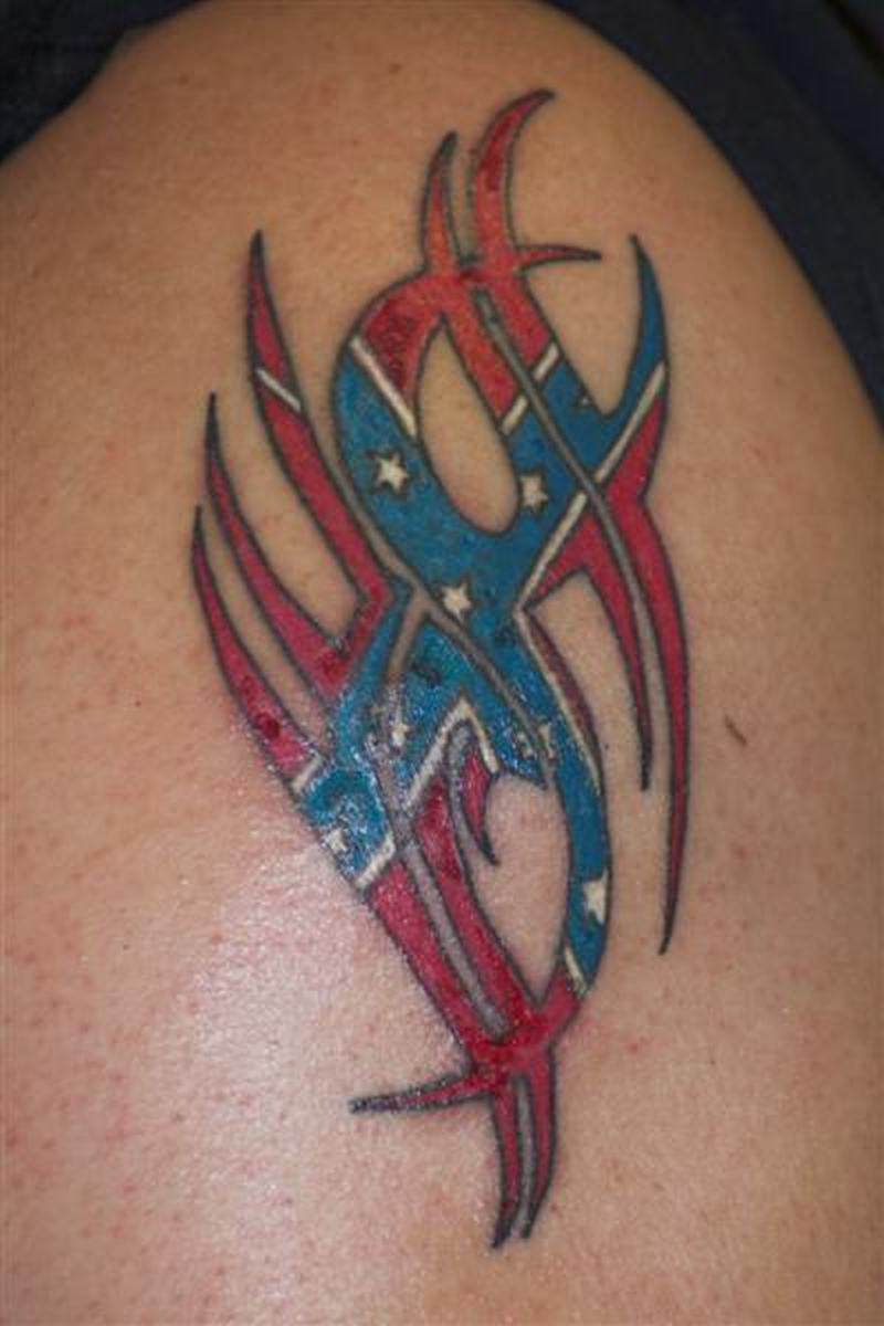 Confederate flag tattoo on biceps
