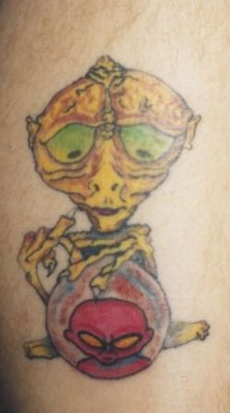 Confused alien tattoo design