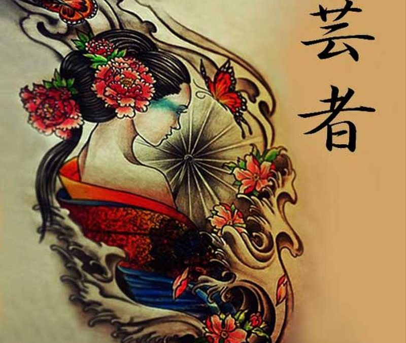 Cool geisha tattoo design